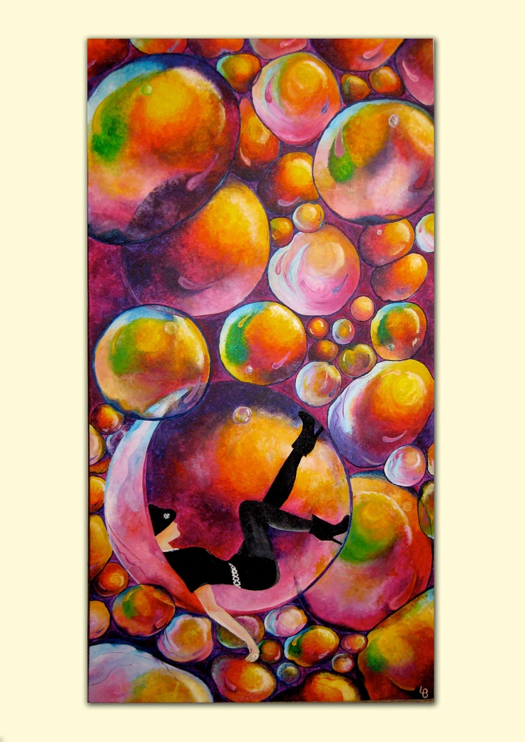 Lady in Bubbles. I love the millions of colours on these bubbles. Acrylics on canvas by Laura Bridgford Art
