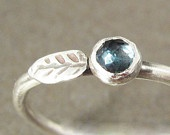 London Blue Topaz Mini Leaf Stack Ring, Sterling Silver