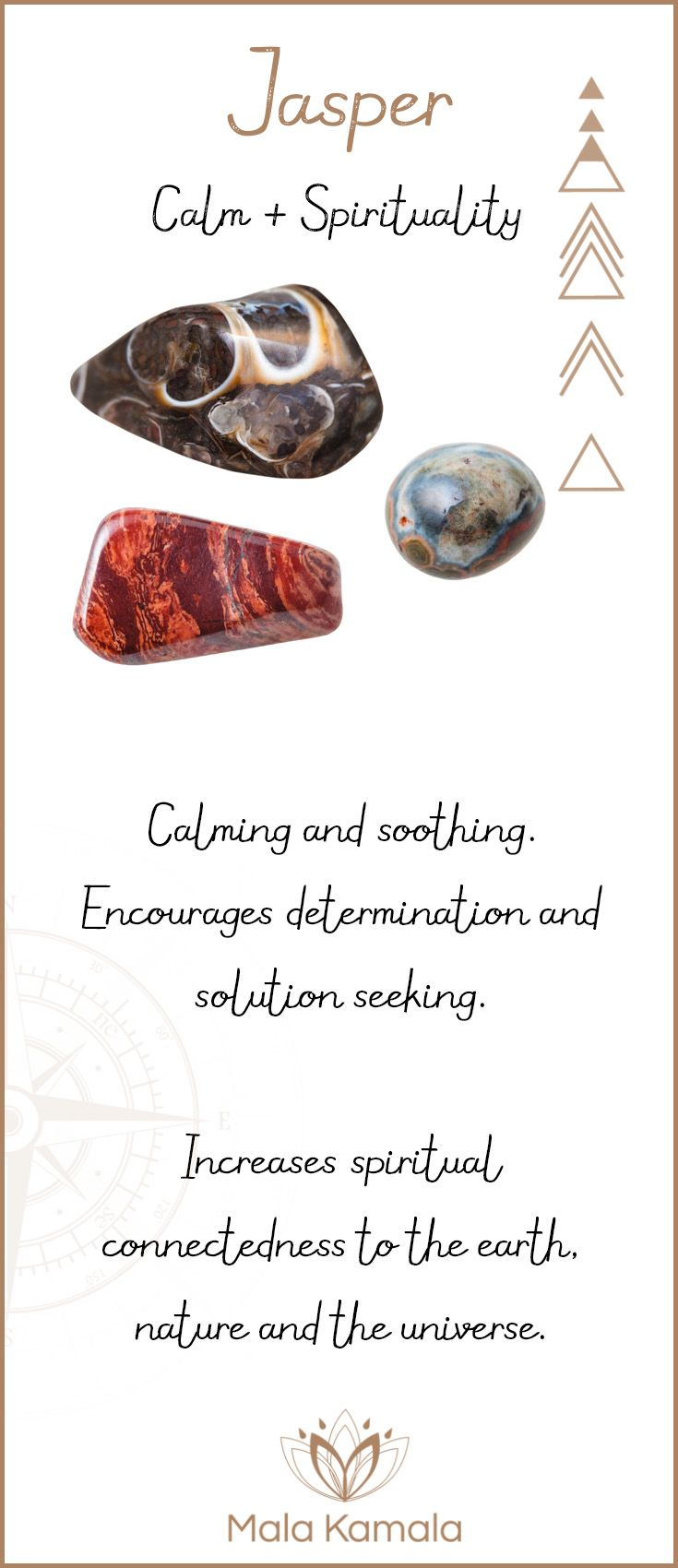 What is the meaning and crystal and chakra healing properties of jasper? A stone for calm and spirituality. Jasper is quite similar to agate.