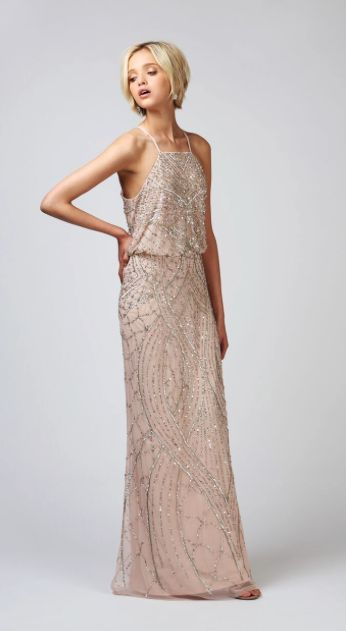 Babushka Ballerina Bridesmaids | Adrianna Papell Blouson Halter, Blush bridesmaid gown, Bridesmaids dress, sequin bridesmaid gown, sequin gown, blush |