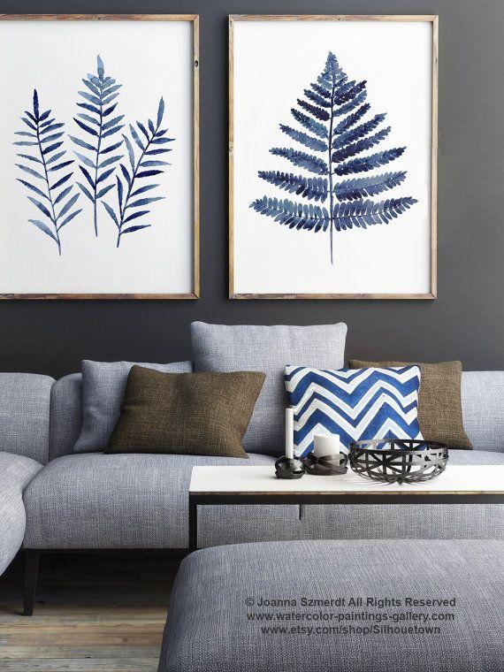 Farn verlässt dunkelblaues Poster, abstrakte minimalistische Aquarellmalerei, Farne botanische Shibori Kunstdruck, Küche Wand Dekor Illustration