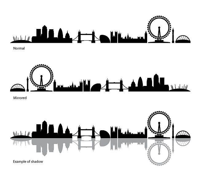 London Skyline Silhouette Tattoo