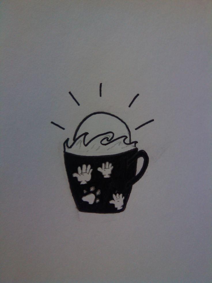 dibujo número 4 café frente al mar por la tarde con amigos y un perro