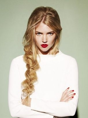 Bold Red Lips, Messy Braid hair makeup