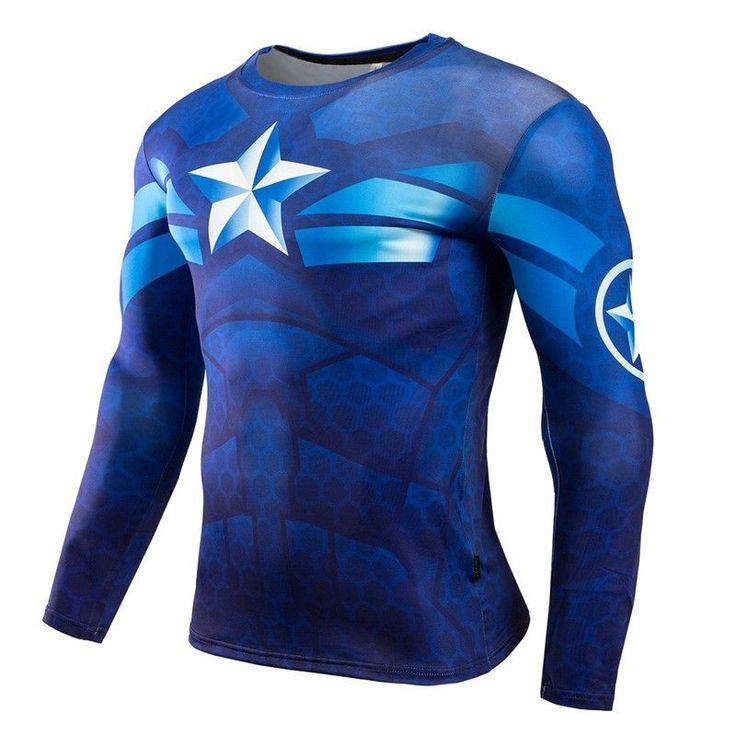 2016 new Men Crossfit Long Sleeve Compression Shirt Marvel 3D Superhero Superman T Shirt Tights Fitness Men Tops & Tees