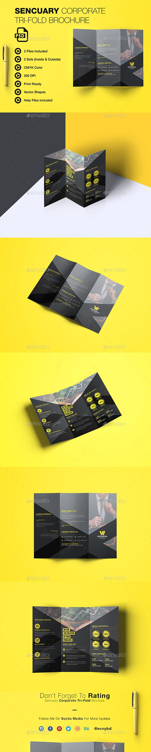 Sencuary Coporate Tri-fold Brochure   #a4, #a4 brochure, #abstract, #abstract brochure, #advert, #advertising, #advertising brochure, #black brochure, #brochure, #brochure design, #business, #clean, #clean brochure, #company, #company profile, #corporate, #creative, #design, #material, #modern, #multipurpose, #print ready, #professional, #promotion, #simple, #template, #tri-fold, #tri-fold brochure, #unique, #yellow