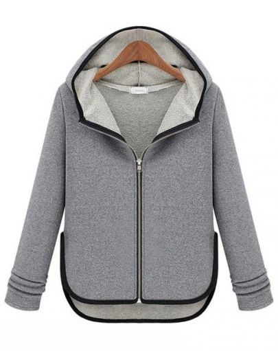 Grey Hooded Long Sleeve Contrast Trims Coat pictures
