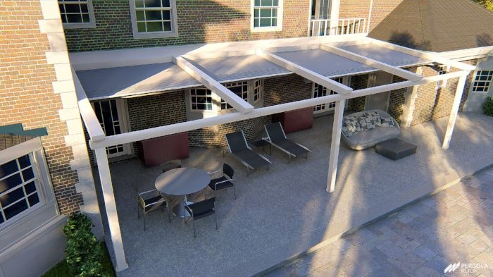 Top View Of Retractable Roof Pergola With Roof Pergola Retractable Awning