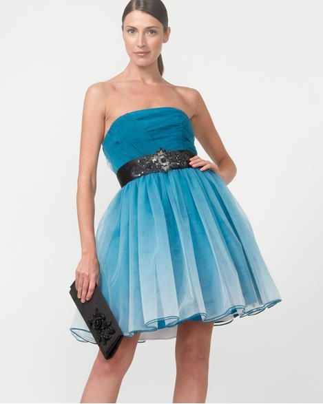 Ombr Pleated Party Dress