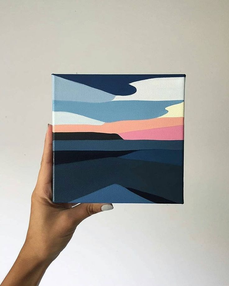 Stunning Geometric Landscapes Paintings By Rachael Mc What A Cool Style What Do You Think Abstract Art Painting Mini Canvas Art Geometric Painting