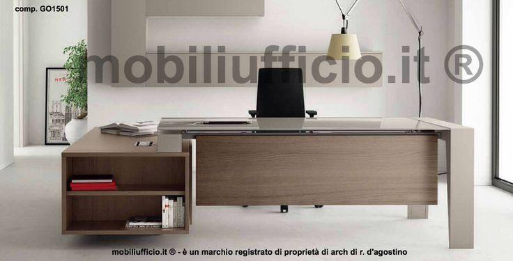 comp. GO1501 #scrivania #direzionale con piano in #vetro #temperato, disponibile in diversi colori, e mobile di sevizio con cassettiera interna.