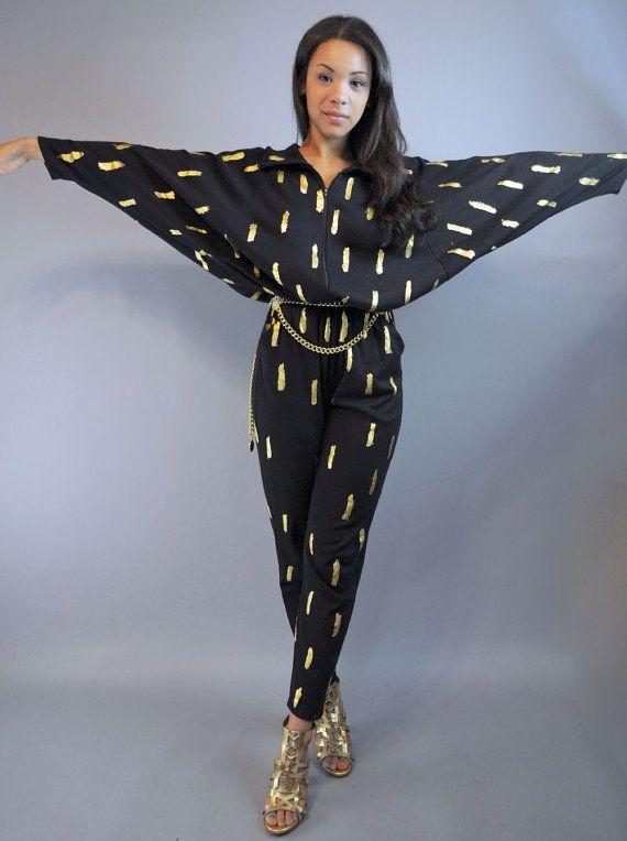 80s Womens Jumpsuit Black Jumpsuit Batwing Sleeve Disco
