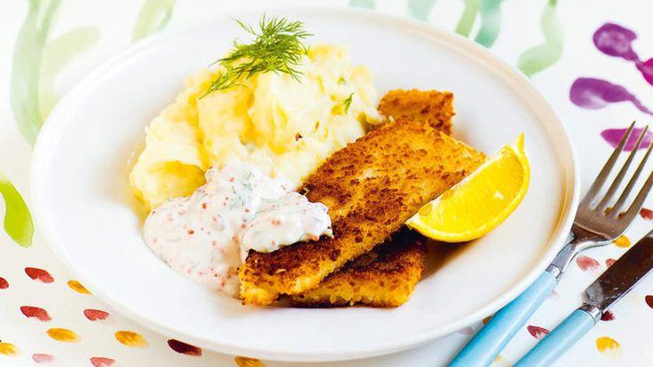 Mannagrynsfisk med potatismos och romsås / fuskpinnar fiskpinnar