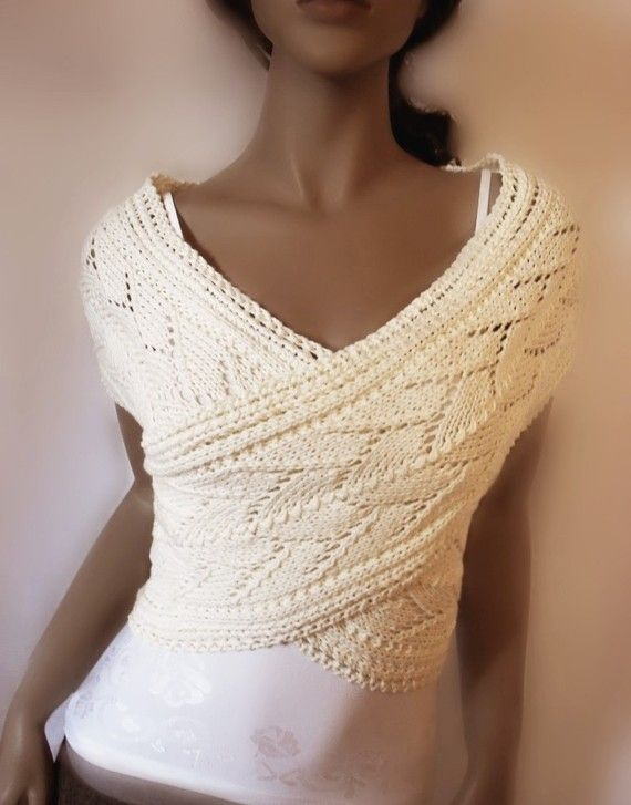 Organic cotton Womens hand knitted sweater Vest Lace by Pilland