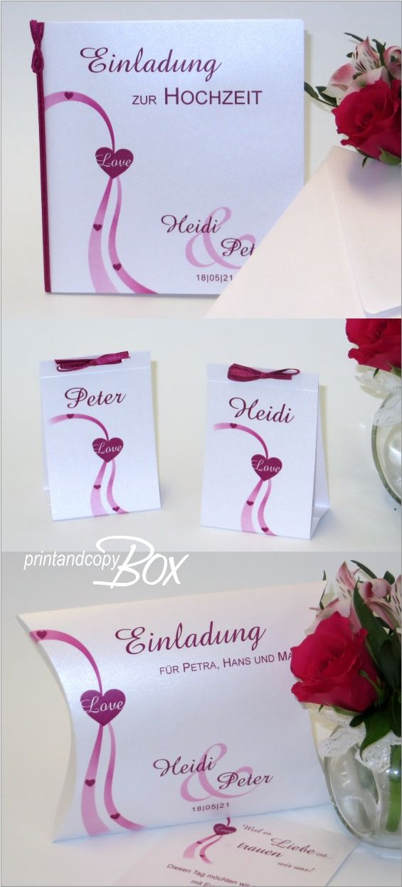 Hochzeitseinladung, Einladungsbox zur Hochzeit und Gastgeschenke in pink. Weitere passende Artikel aus der gleichen Serie gibt es in unserem Shop in der Kollektion Liebesweg