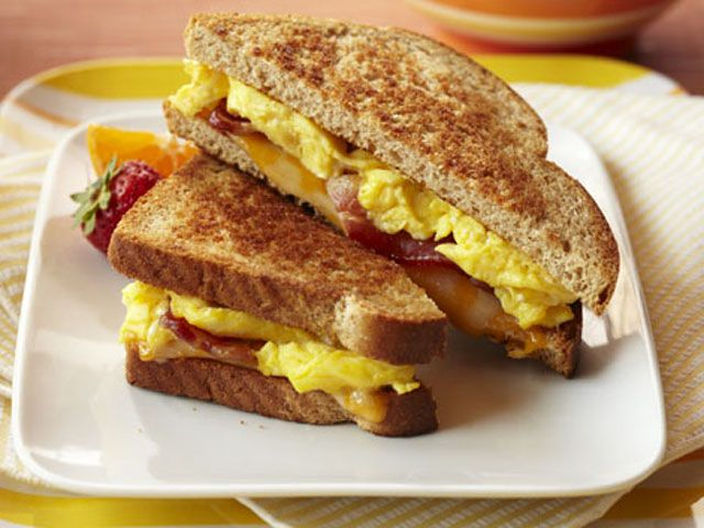 Bacon & Egg Breakfast Grilled Cheese......my sister just made it!!!!!!!!!!!!!!!!!