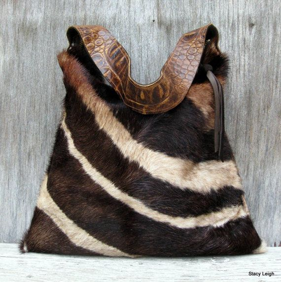 Hair On Cowhide Purse in Brown Zebra Print - I guess I'd carry this, not wear it.  Gorgeous.