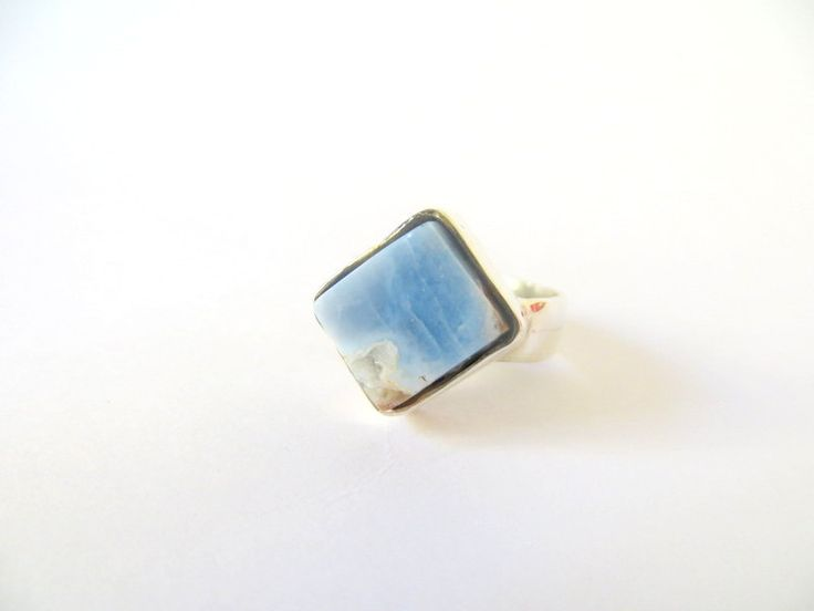 Silver & Blue Opal Diamond shaped Ring by Picossa on Etsy