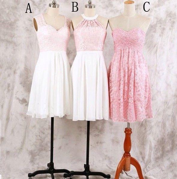 Knee Length Bridesmaid Dress,Lace Bridesmaid Dress,Vintage Bridesmaid Dress,Pink Bridesmaid Gown