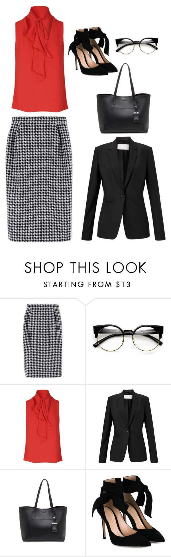 """Look 3- WILSONS"" by kirravanblanken on Polyvore featuring MaxMara, ZeroUV, Glamorous, HUGO, Prada and Gianvito Rossi"