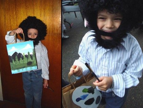 What an awesome Bob Ross costume!  This is a great tribute to the man who taught us all how to draw happy little trees and clouds. If you need ideas for your upcoming Halloween costume, this is definitely a good choice!