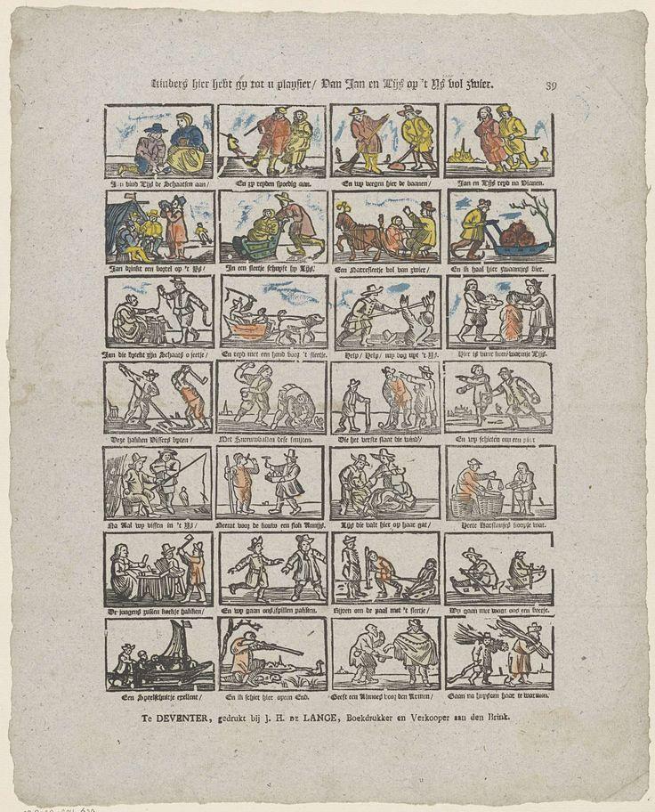 Jan Hendrik de Lange | Kinders hier hebt gy tot u playsier / Van Jan en Lijs op 't ys vol zwier, Jan Hendrik de Lange, Anonymous, 1787 - 1822 | Blad met 28 voorstellingen van winterse taferelen, van onder andere mensen die schaatsen, sleeën en ijsvissen. Onder elke afbeelding een tweeregelig vers. Genummerd rechtsboven: 39.