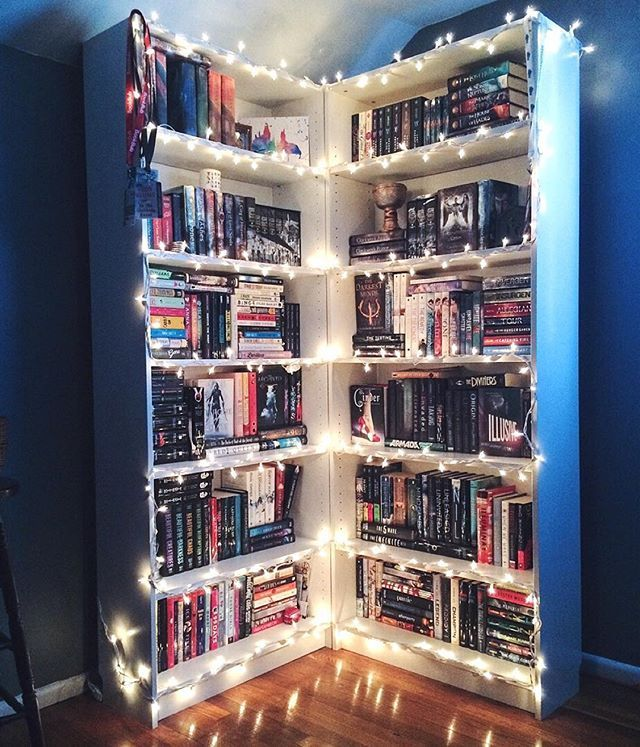 Book shelf ideas - Fairy lights or christmas lights help to create a gorgeous book shelf look. Perfect for book shelfies.