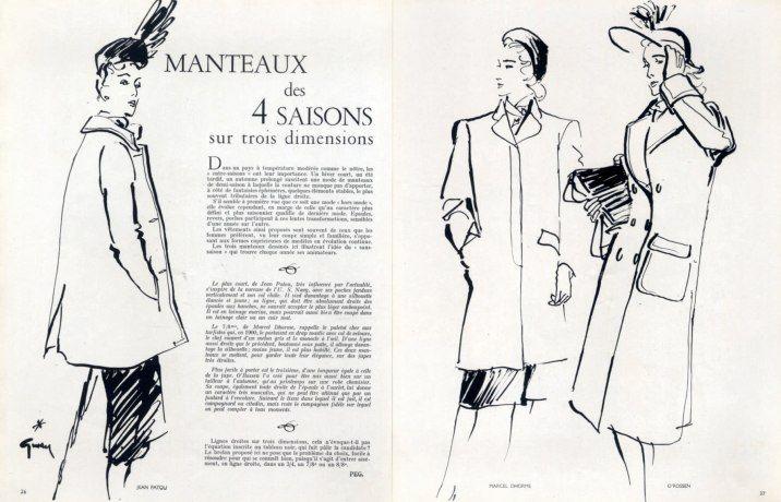 Jean Patou Marcel Dhorme O'Rossen 1945 Winter Coat René Gruau