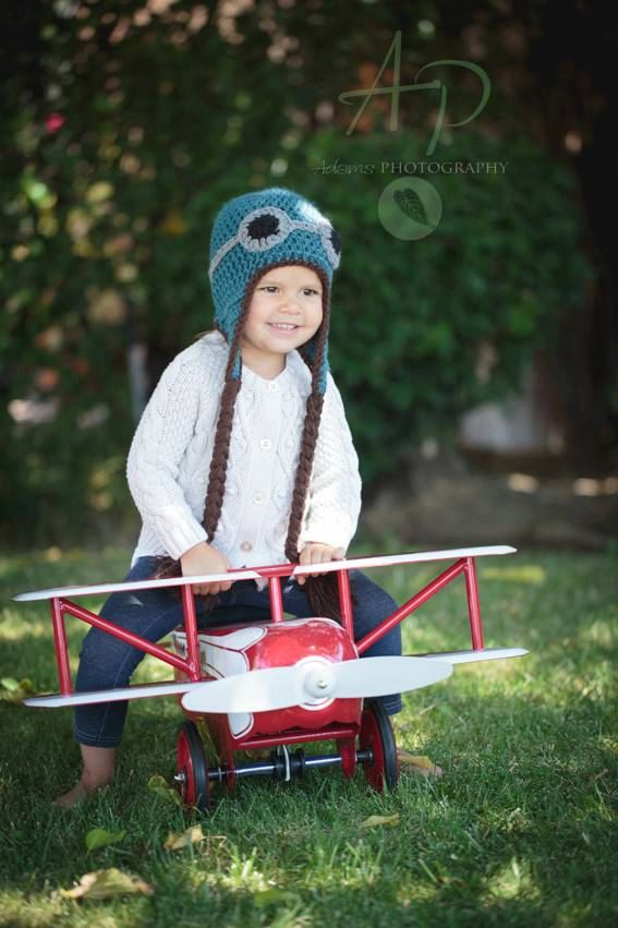 Aviator Hat Pilot Hat Goggle Hat Crocheted by TheFuzzyStitch, $20.00