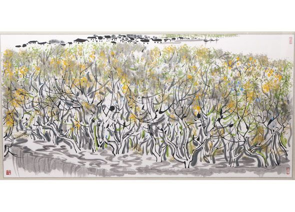 Mangrovenwälder. From Auktionshaus Stahl -  Guanzhong WU, (1919 Yixing, Jiangsu - 2010 in Peking)