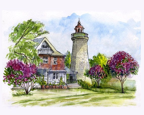 """Lighthouses are not just stone, brick, metal, and glass. Theres a human story at every lighthouse""  -Elinor Dewire Old Point Comfort Lighthouse  Thank you for checking out. This is a downloadable print of my watercolor painting Old Point Comfort Lighthouse  High quality watercolor file 8x10 (2400x3000px), 300 dpi Instant download. Make a print to hang on your wall or resize and create your own post cards.  The colors depicted on your monitor may be slightly different from the actual print…"