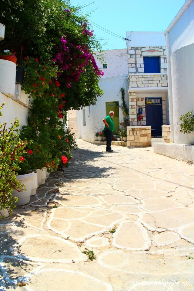 Cobbled road, flowers and old man in Kimolos Chora