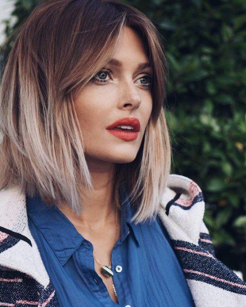 Brown to Blonde ombre   Layered Bob & Middle Parting