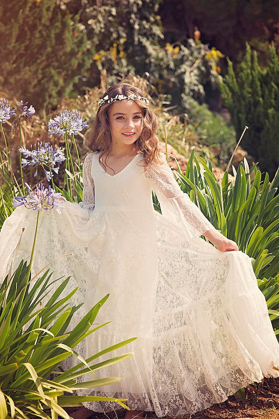 First Communion Dress // Flower Girl White Lace Dress / by Bubale1