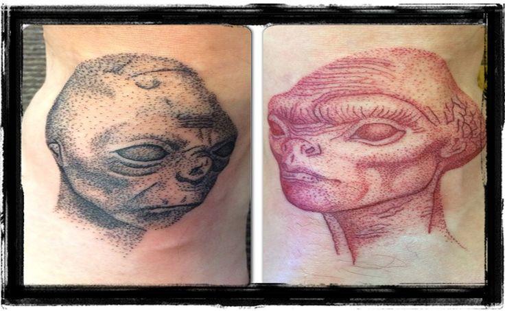 Alien Heads Dotwork Tattoo