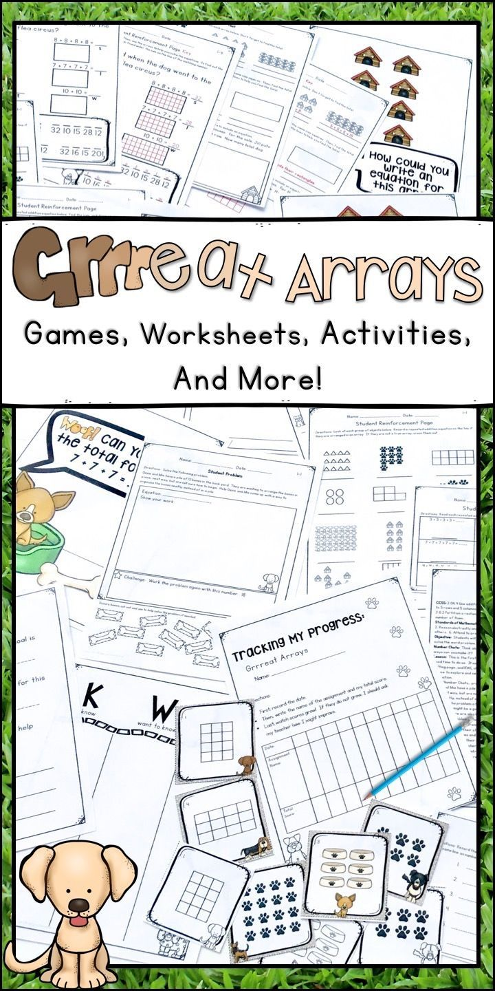 Here is a great set of activities for arrays and repeated addition for second grade students.  These worksheets and games will be a big help for any 2nd grade teacher working with a small group, whole class, or home school kids.  Students will get a chance to practice skip counting, creating arrays, and recording equations to match with this fun puppy dog themed unit.