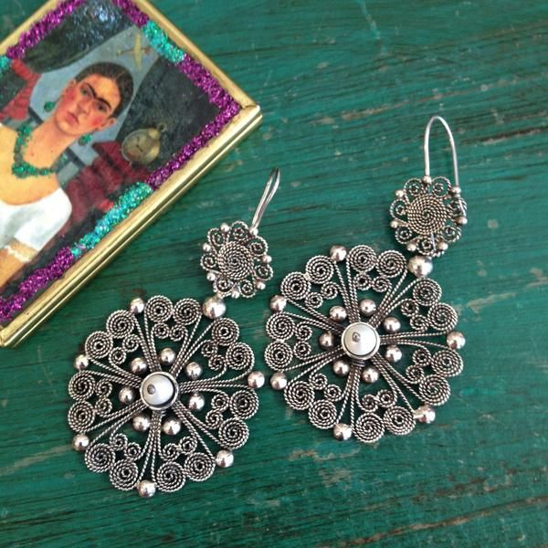 Double Round Mexican Silver Filagree Earrings with Pearl Beads