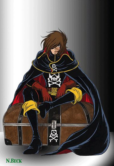 Harlock sitting on a treasure-chest...which is very ironic because if there is one thing Harlock ISN'T interested in it's seeking treasure