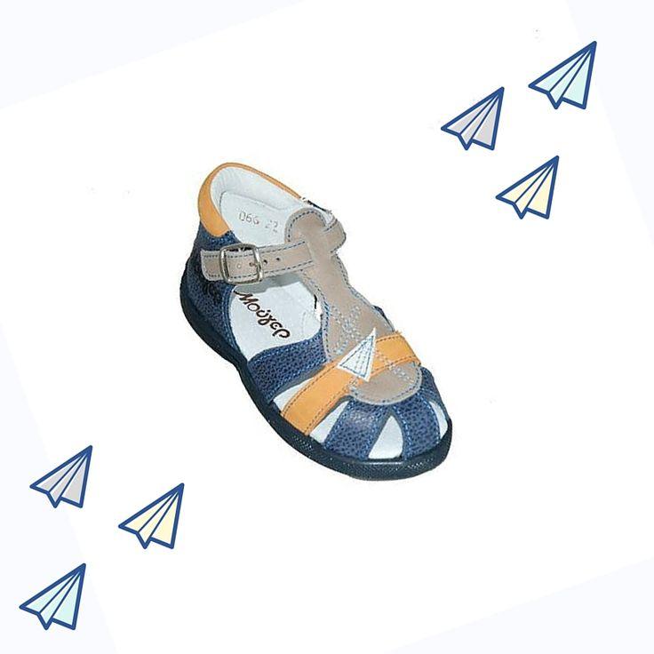 #baby #shoes Παπουτσοπέδιλο Μούγερ για τα πρώτα βήματα, δερμάτινο, μπλε με ανατομικό πάτο.