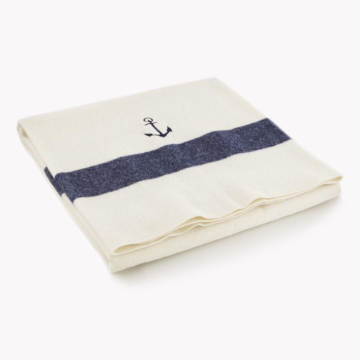 Anchor Wool Baby Blanket - Cream/Navy