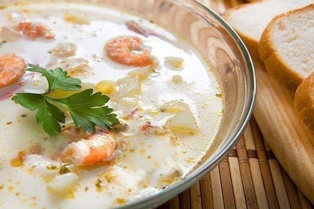 Суп из плавленных сырков и креветок