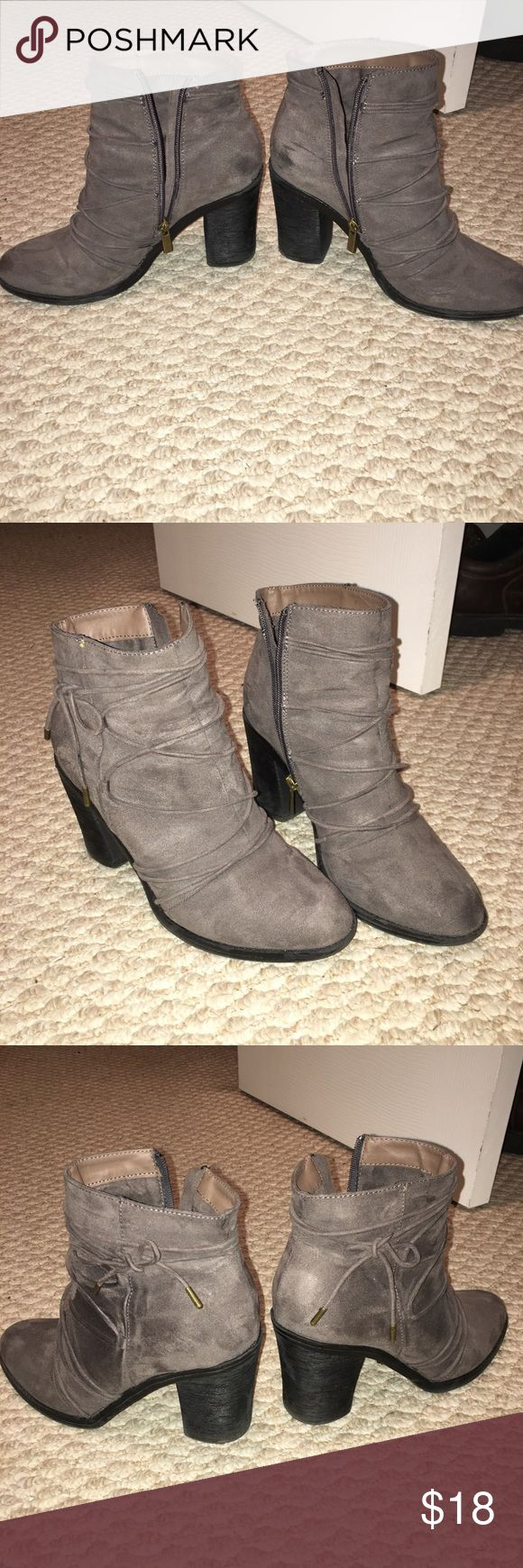 Gray boots CUTE pair of gray boots, sz 9. Bought last year from an online boutique (Jane 💕), worm maybe twice? No wear marks, excellent shape. I've found ANOTHER pair of gray boots that I love lol, so these gotta go. Shoes Ankle Boots & Booties