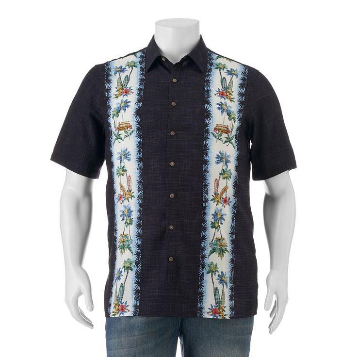 Big & Tall Batik Bay Classic-Fit Tropical Button-Down Shirt, Black