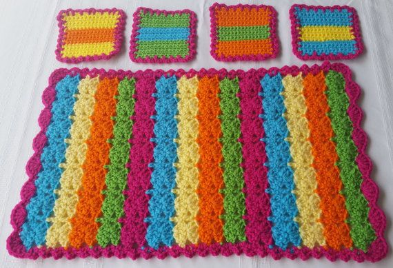 Fiesta time!! Crochet coasters & place mat sets or choose your colors. See details at: Etsy.com/shop/GrammysCustomCrochet