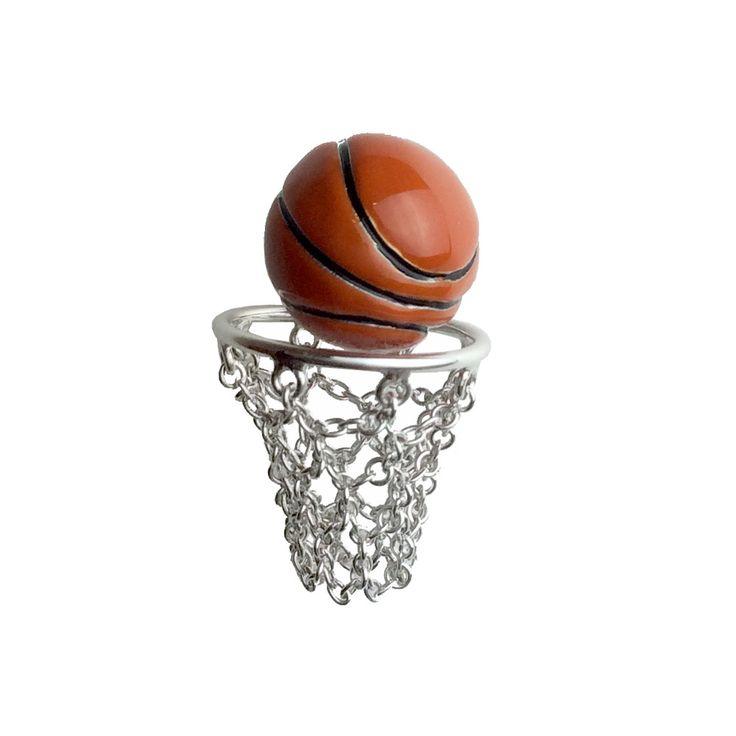 #Jan Leslie #ジャンレスリー  #シルバー #ラペルピン #タイタック #ワンポイント #バスケットボール