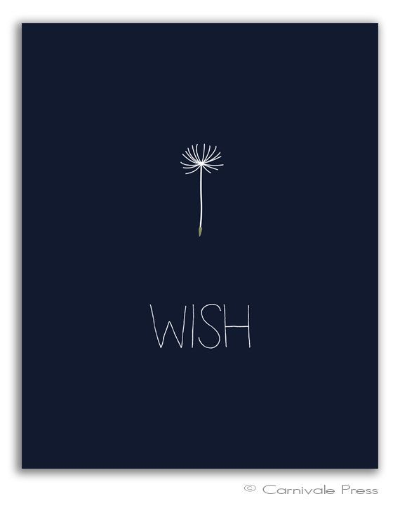 Wish Dandelion art print Make a wish Wish on a door CarnivalePress