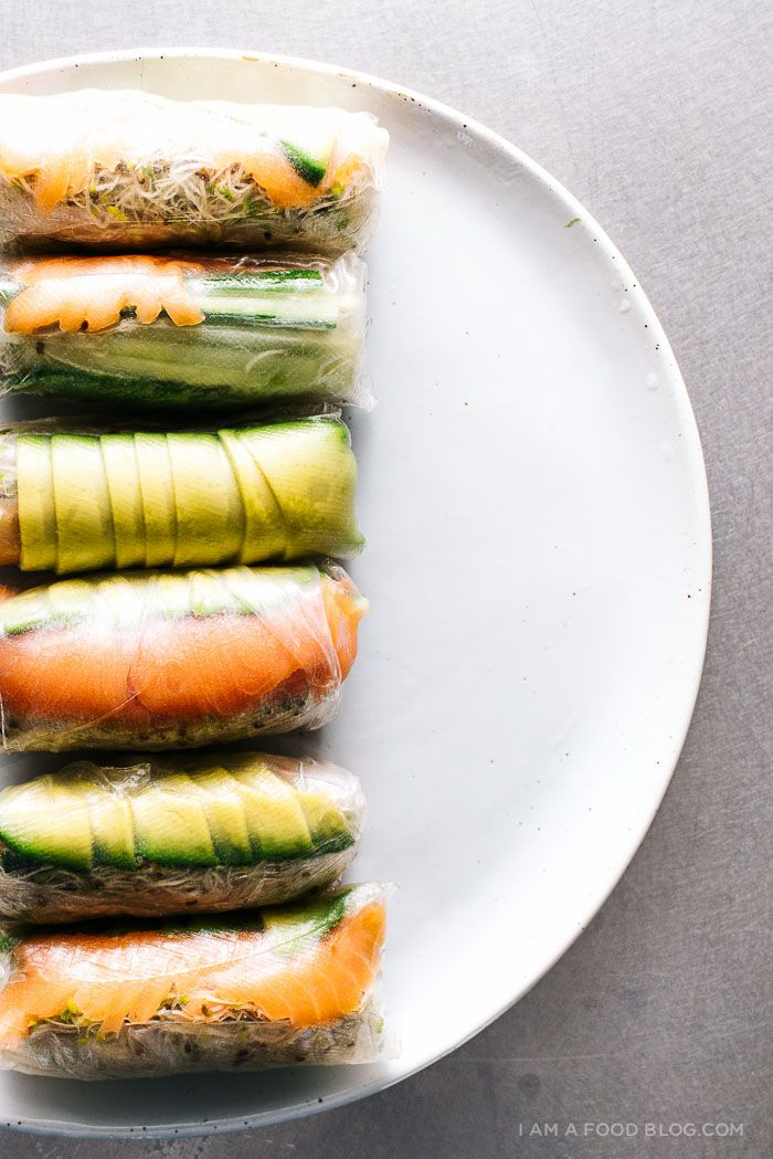 salmon avocado summer rolls recipe - www.iamafoodblog.com smoked salmon, sprouts, avocado & cucumber w rice paper!