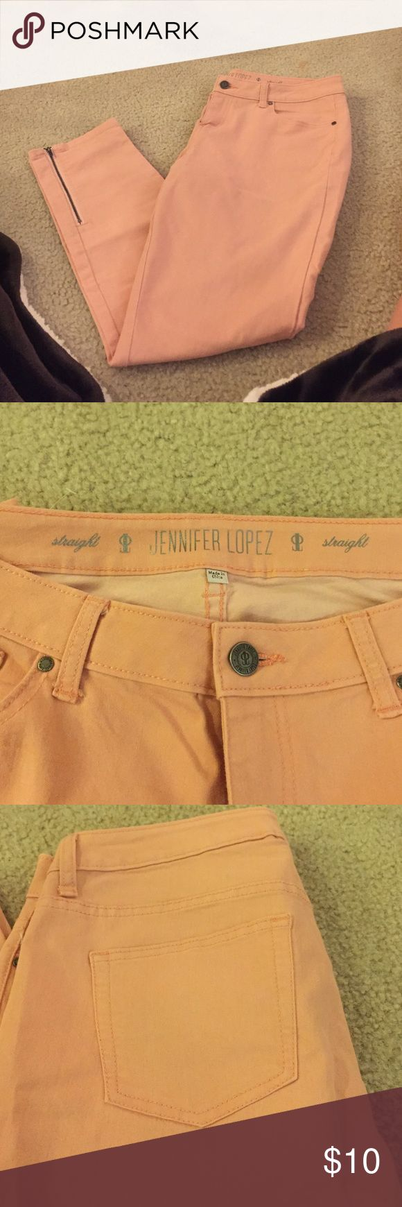 Jennifer Lopez peach pants In perfect condition. Stretchy and comfortable. Straight leg. Peach color Jennifer Lopez Pants Straight Leg