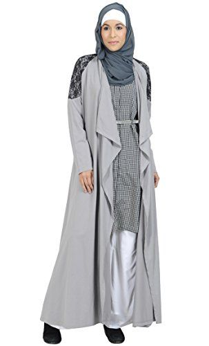 Grey Shrug Abaya with Lace detailGreyM -- You can find out more details at the link of the image.