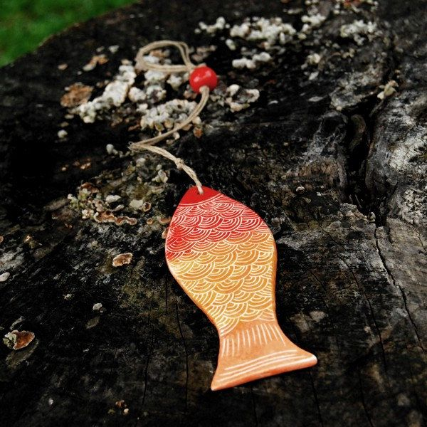 Rainbow colors Fish, decoration, home decor, ceramic, SUMMER PRICE! by Brekszer on Etsy